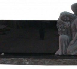 Sculpted angel with large horizontal Jet black tablet